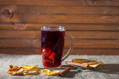 Mulled wine  on a wooden and linen background Royalty Free Stock Images
