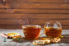 Mulled wine  on a wooden and linen background Stock Photo