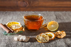 Mulled wine  on a wooden and linen background Stock Images