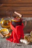 Mulled wine  on a wooden and linen background Royalty Free Stock Photography
