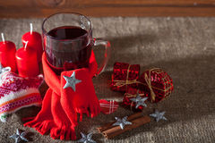 Mulled wine  on a wooden and linen background Stock Image
