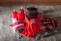 Mulled wine  on a wooden and linen background Royalty Free Stock Photo
