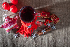 Mulled wine  on a wooden and linen background Royalty Free Stock Image