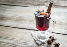 Mulled wine. On the wooden table close up Stock Photo