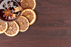 Mulled wine on wooden table Stock Photo