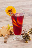 Mulled wine on wooden table Stock Photography