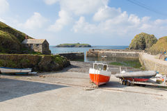 Mullion Cove harbour Cornwall UK the Lizard peninsula Mounts Bay near Helston Stock Images