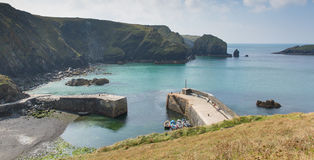 Mullion Cove harbour Cornwall UK the Lizard peninsula Mounts Bay near Helston Stock Image