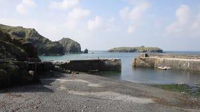 Mullion Cove harbour Lizard peninsula south Cornwall UK PAN stock footage