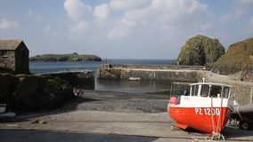 Mullion harbour The Lizard Cornwall UK stock footage
