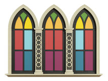 Mullioned gothic window with stone frame Royalty Free Stock Photo