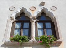 Mullioned Window on a Historical Building stock image
