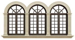 Mullioned window isolated on white Royalty Free Stock Images