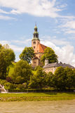 The Mulln Parish Church on the hill near Salzach river in Salzbu Stock Photos