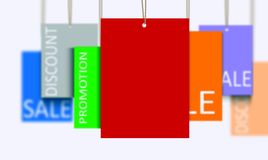 Mullti color sales tags over white Royalty Free Stock Photo
