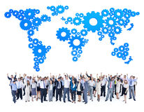 Mullti-ethnic group business person gear world map Concept Stock Photo