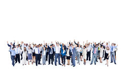 Mullti-ethnic group business person hands up Concept Stock Photography