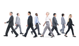 Mullti-ethnic group business person walking Concept.  Royalty Free Stock Image