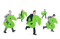 Mullti-etnische groep de Dollarsteken van de bedrijfspersoonsholding Royalty-vrije Stock Foto