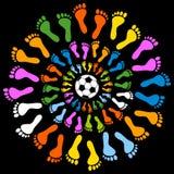 Mullticolored脚和足球 免版税库存图片