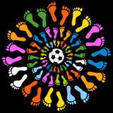 Mullticolored Feet and Soccer Ball. Mullticolored feet in concentric circles with a soccer ball in the middle stock illustration