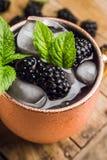 Mulo di Blackberry Mosca in tazza di rame sui precedenti rustici fotografie stock