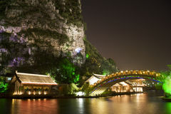 Mulong Lake Buildings and Bridge, Guilin, China Stock Image