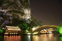 Mulong Lake Buildings and Bridge, Guilin, China Stock Image