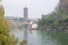 Mulong Lake in morning with fog,Guilin Royalty Free Stock Photos