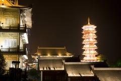 Mulong Lake Pagoda and Buildings, Guilin, China Royalty Free Stock Images