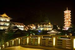 Mulong Lake Pagoda and Buildings, Guilin, China Stock Image