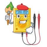 Multímetro digital do artista no armário da mascote ilustração stock