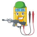 Multímetro digital do exército no armário da mascote ilustração stock