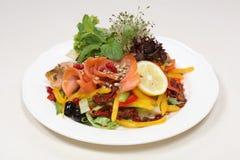 Multe o jantar da refeição, salmão fumado Imagem de Stock Royalty Free