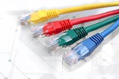 4 Multi покрашенных кабеля сети на монтажной плате Стоковое Изображение