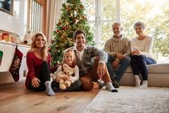 Multi семья поколения перед рождественской елкой Стоковое фото RF