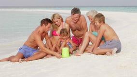 Multi семья поколения имея потеху на празднике пляжа сток-видео