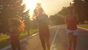 Multi этнические женщины бежать в парке на заходе солнца Подлинный ход группы женщин акции видеоматериалы