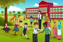 Multi этнические и разнообразные студенты играя в школе бесплатная иллюстрация