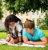 Multi этнические пары студентов в парке Стоковое Изображение