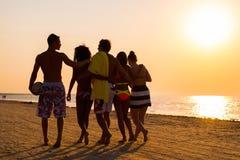 Multi amici etnici che camminano su una spiaggia immagine stock