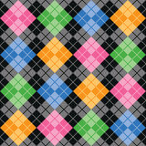 Multi Argyle. Argyle pattern with color blocks of pink, blue, green and yellow on a black background repeats seamlessly Royalty Free Stock Photo