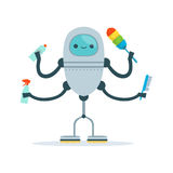 Multi armed housemaid android character cleaner vector Illustration Royalty Free Stock Images