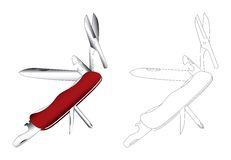 Multi arte do vetor da faca da finalidade Foto de Stock