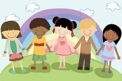 Multi bambini etnici illustrazione di stock