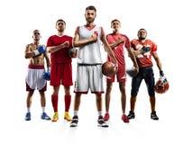 Multi bascketball Volleyball des amerikanischen Fußballs des Sportcollagenverpackenfußballs lizenzfreies stockbild