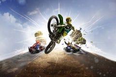 Multi bici della sporcizia del collage del motorsport di sport che karting Fotografia Stock Libera da Diritti