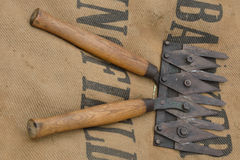Multi bladed trimmer on sack. Multi bladed trimmer on hessian sack Stock Photos