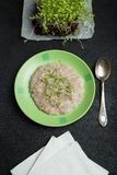 Multi-cereal porridge with micro greens for weight loss, detoxification, sanitation.  stock images