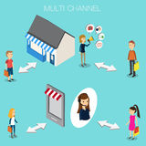 Multi channel concept for OMNI Channel Isometric 3D vector. illu Stock Images